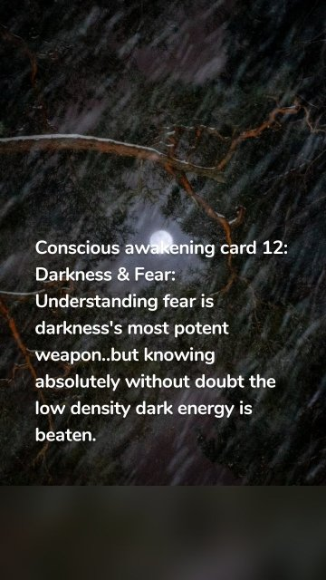 Conscious awakening card 12: Darkness & Fear: Understanding fear is darkness's most potent weapon..but knowing absolutely without doubt the low density dark energy is beaten.